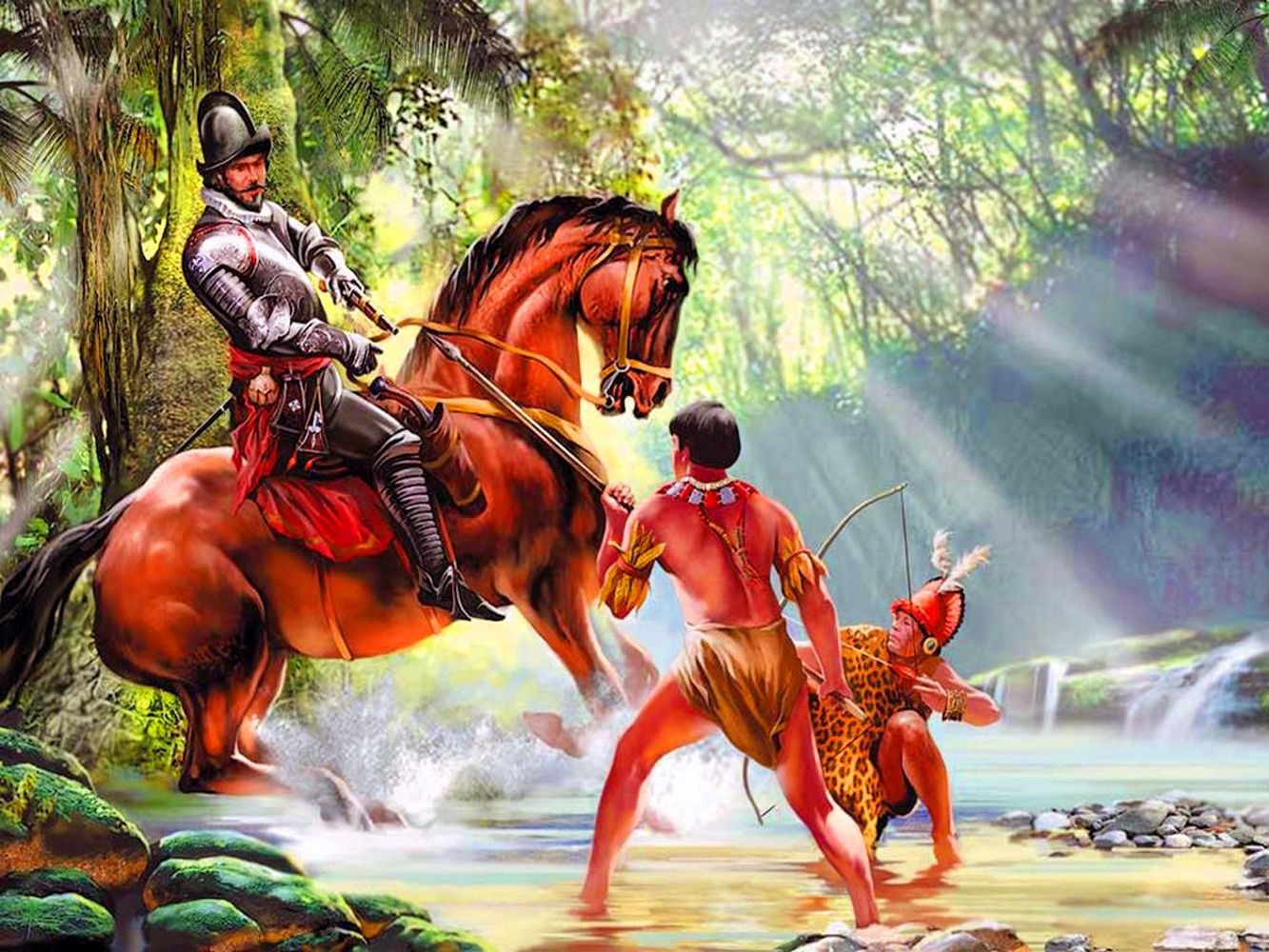 Spanish Conquistador Battling The Native Indians In The