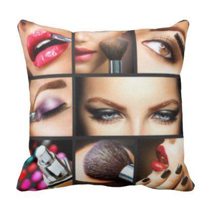 Make Up Collage Throw Pillow - chic design idea diy elegant beautiful stylish modern exclusive trendy