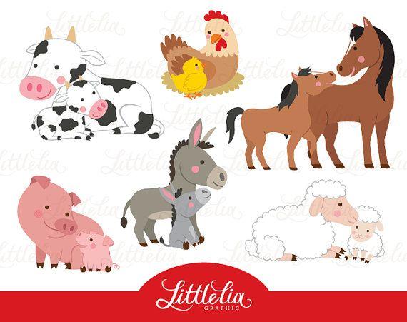 Farm Mom And Baby Clipart Family Clipart 16055 Etsy In 2021 Puppy Clipart Family Clipart Baby Farm Animals