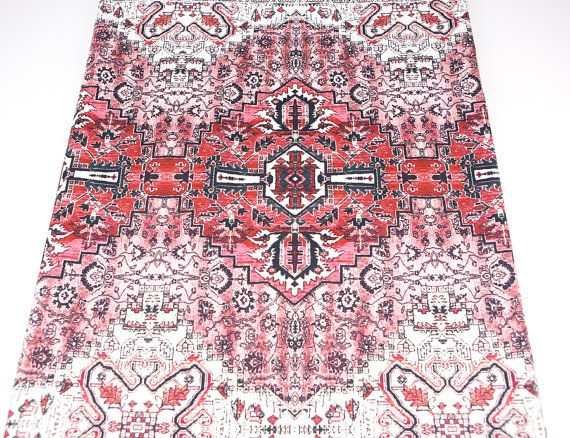 Red Bohemian Printed Woven Stretch Cotton Fabric by felinusfabrics