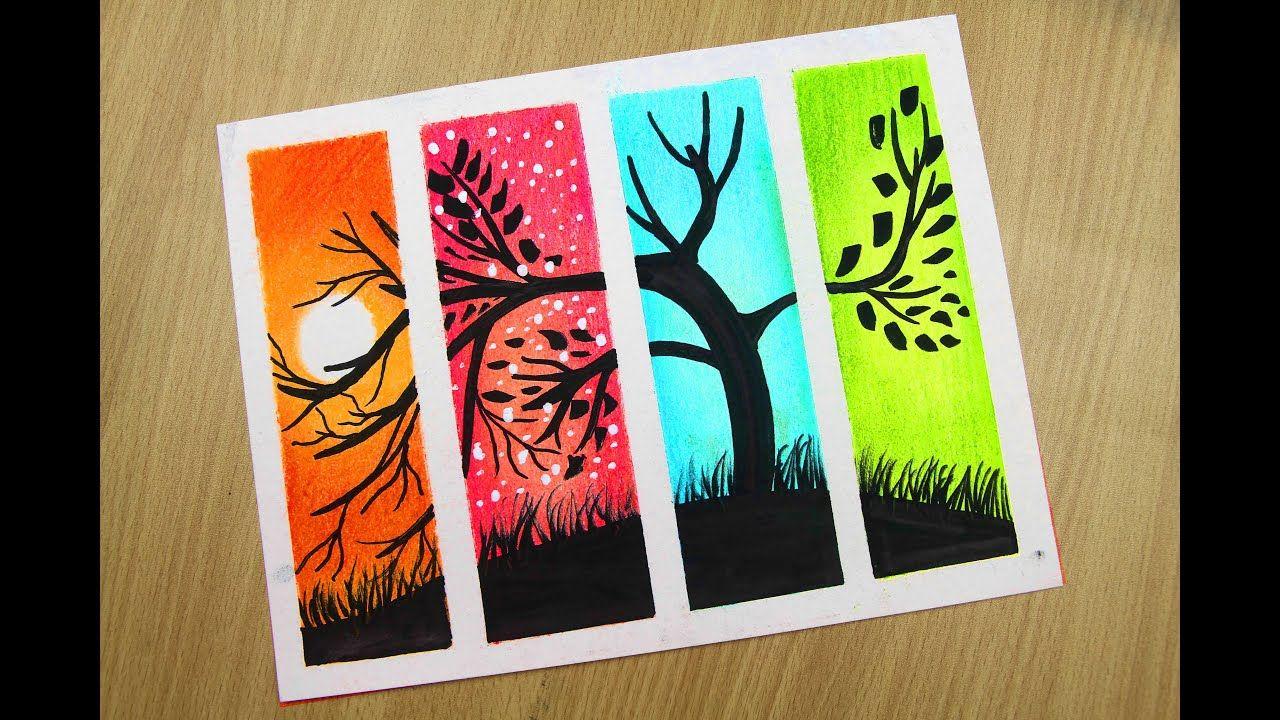4 Season Scenery Painting How To Draw Beautiful Scenery