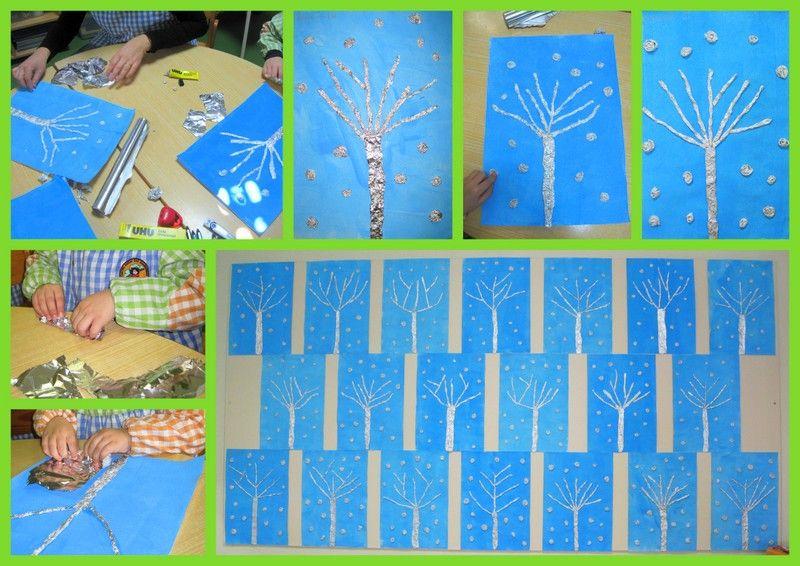 Colagem Árvore do Inverno - Feita com papel aluminio