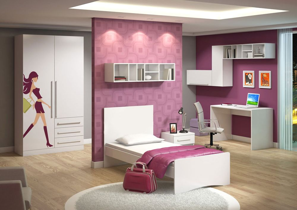 Quarto para uma garota pré adolescente com moveis planejados e parede rosa