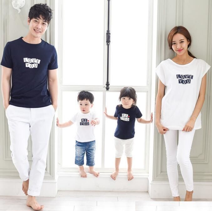 LOVE YOU Family Style Tops Casual T shirt Mother Daughter Father Son T shirt Mom and Baby Matching Clothes Family Clothing TM05