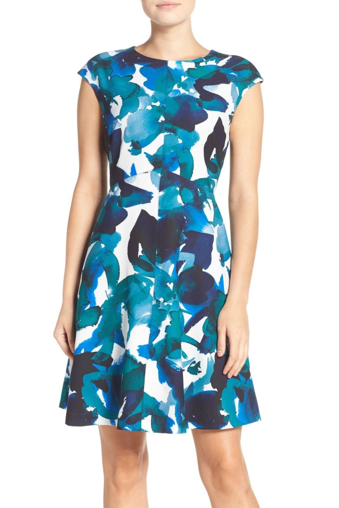 Beautiful In Blue Vince Camuto Floral Print Crepe Fit Flare Dress Fit Flare Dress Dresses Nordstrom Dresses [ 1692 x 1128 Pixel ]