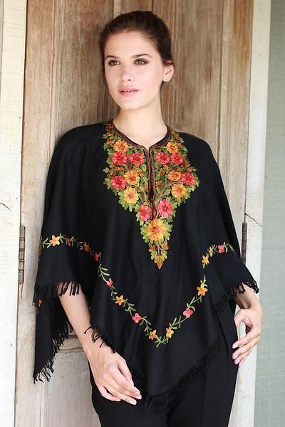Wool poncho, 'Midnight Floral Grandeur'