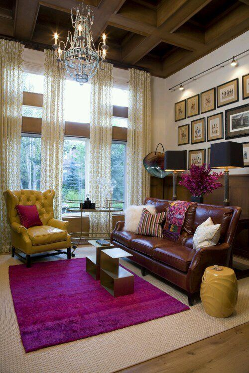 I Love This Carpet Gold Leather Chair And Brown Leather Couch Awesome With The Purple Boysenberry With Images Chandelier In Living Room Home Traditional Living Room