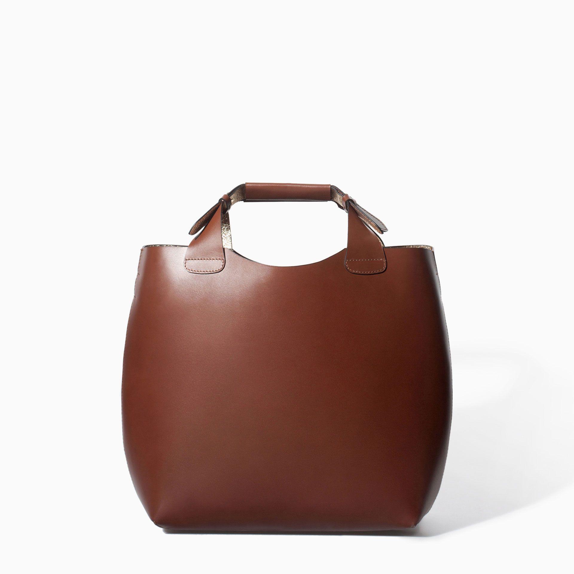483e4c45675 LEATHER SHOPPER WITH LAMINATED INTERIOR - Handbags - WOMAN   ZARA Jordan    129.00 JOD