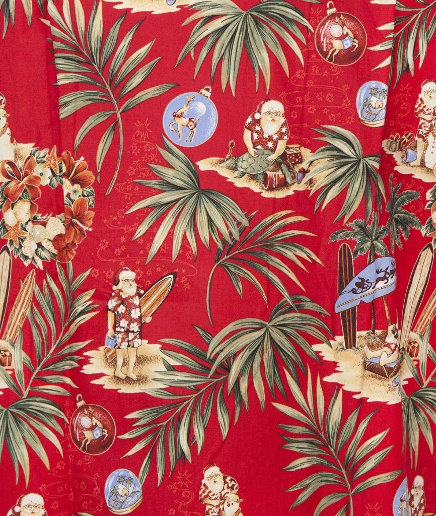 Santas Retreat Mens Hawaiian Aloha Shirt In Red Hawaiian Christmas