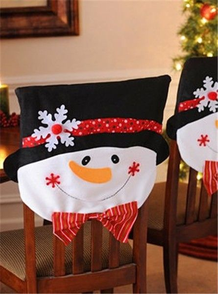 2013 Christmas Cotton Chair Cover Set Snowman Home Decor