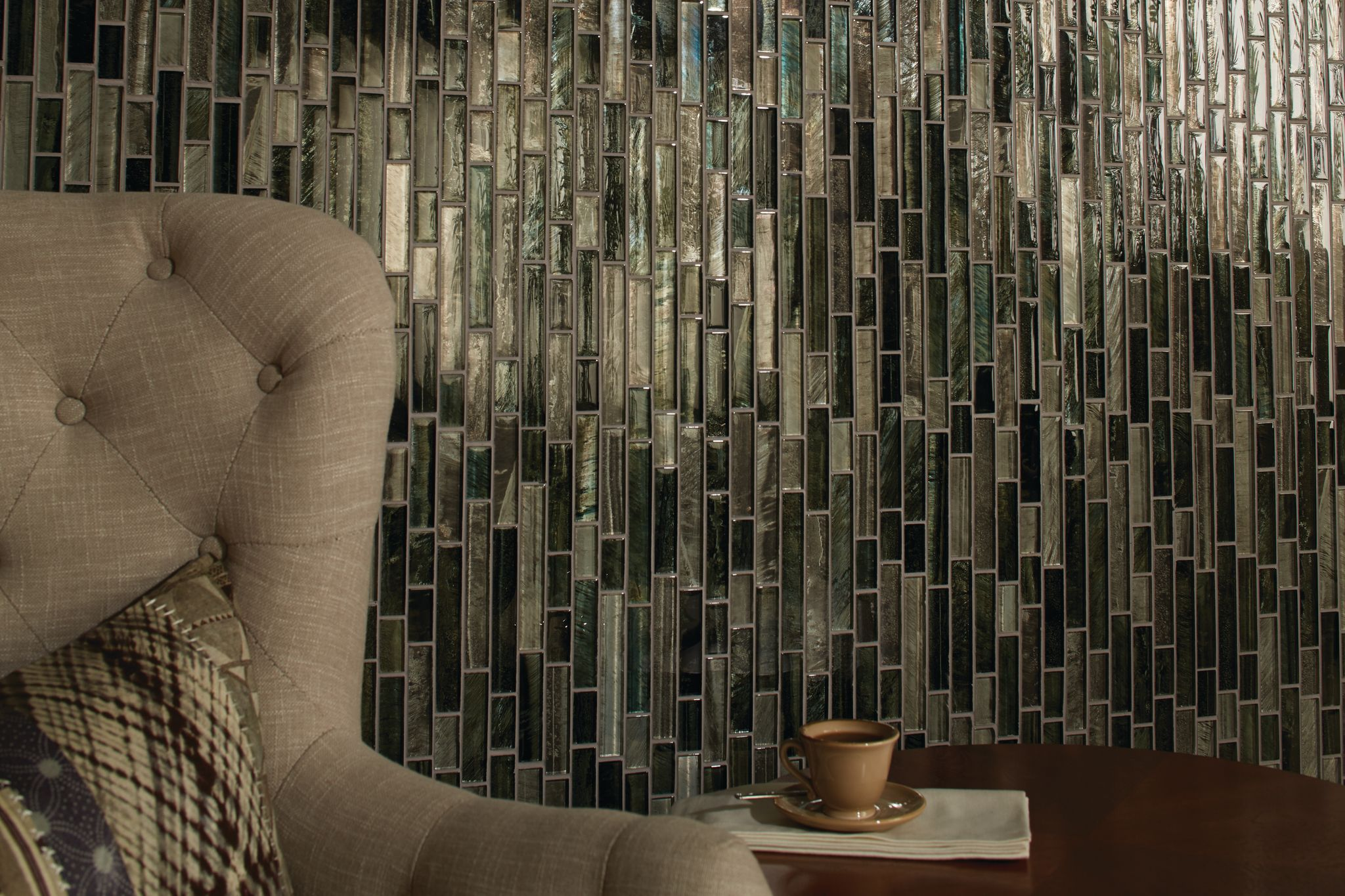 Striking Gl Tile Can Easily Transform A Cozy Sitting Area Into Unique E Tiger Eye Collection Indo Today Photo By Daltile