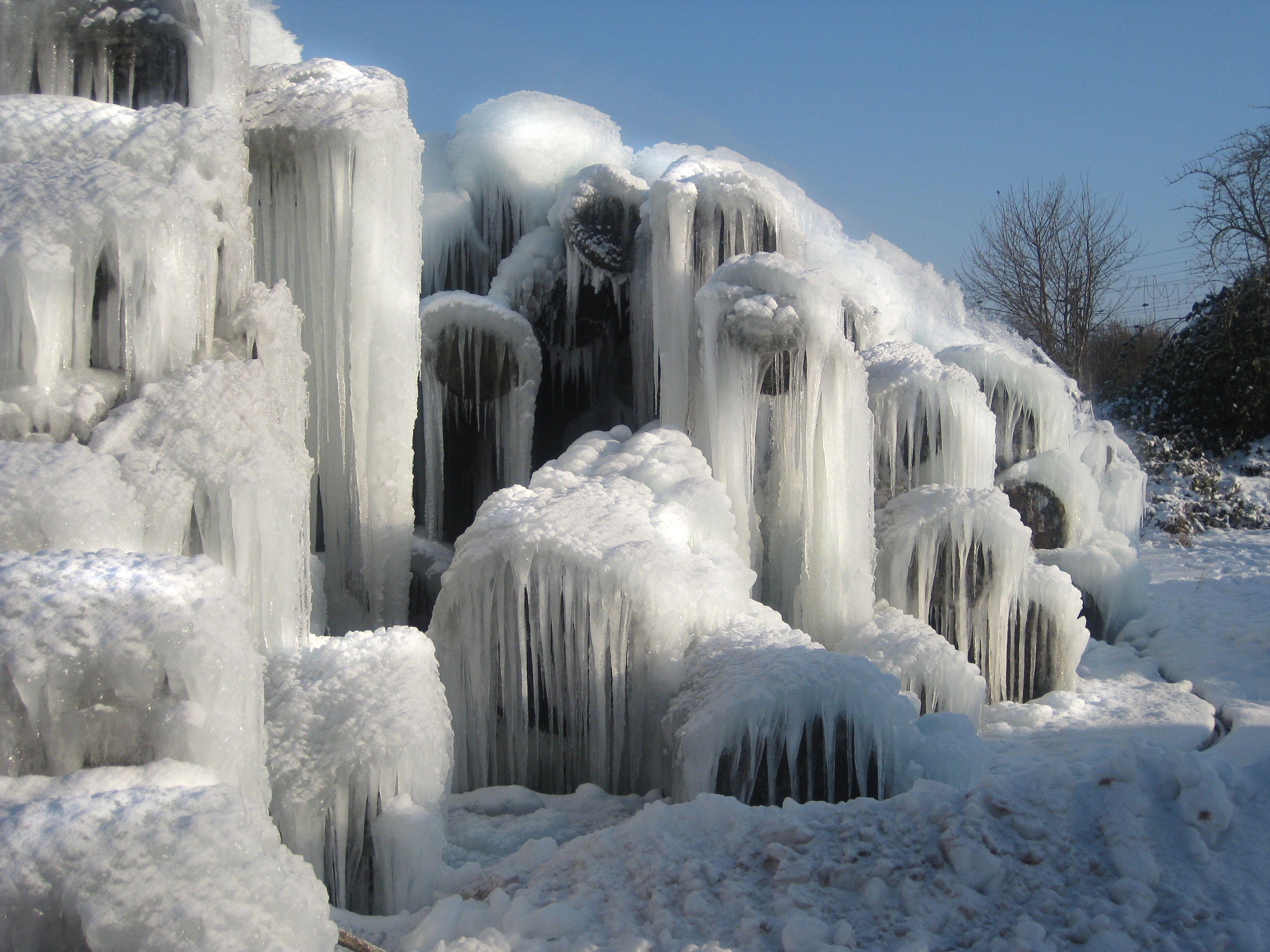 Eislandschaft Im Sagewerk Entstanden Durch Das Besprengen Der