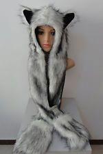 Peluche fourrure synthétique pour femme homme hiver animal chapeau chaud avec de longues Mitaines Bonnet écharpe