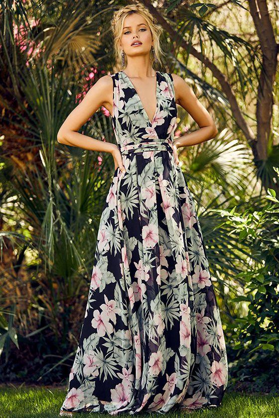 Love Interest Black Floral Print Maxi Dress Wedding Attire Guest Maxi Dress Outdoor Wedding Guest Dresses