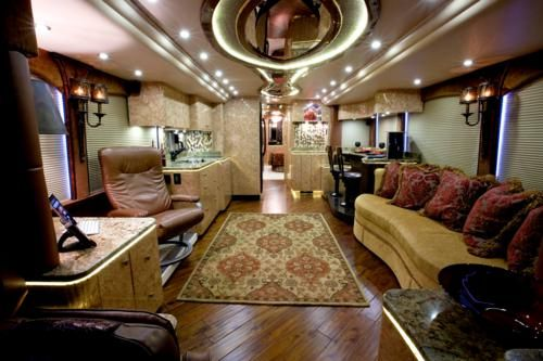 Inside Of A New Prevost Luxury Coach Quad Slide By