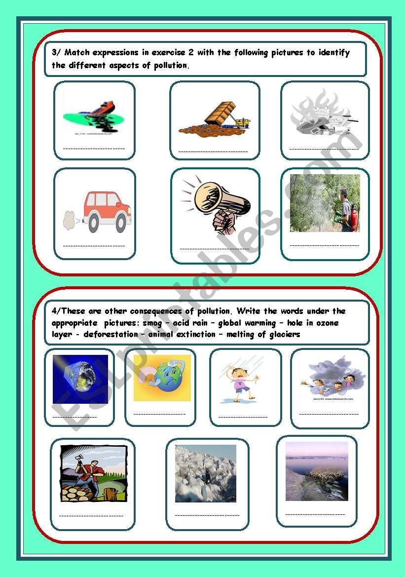 pollution (3 pages) worksheet | Education | Worksheets ...