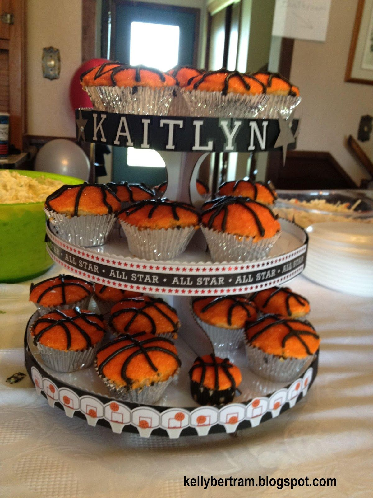 Kelly S Place Basketball Cupcakes And Stand Basketball Cupcakes Basketball Baby Shower Cupcake Tiers Stand
