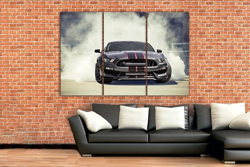 Ford Mustang Canvas Shelby Gt350 Sport Car Mechanism Decor Etsy Mustang Decor Mustang Ford Mustang
