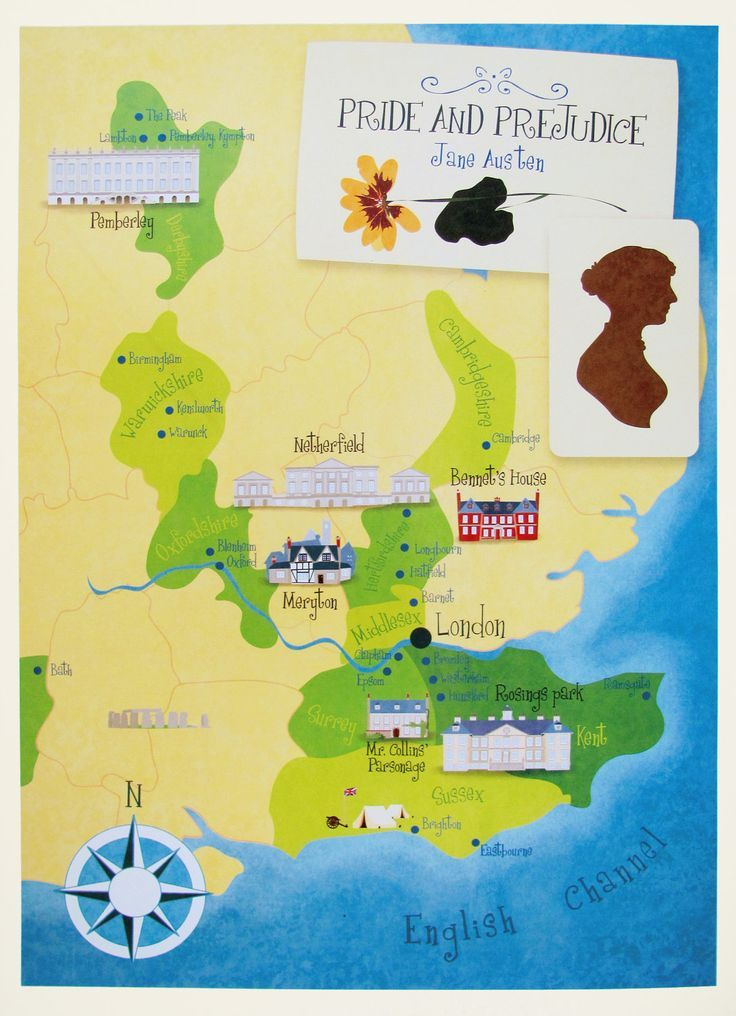 Pride and Prejudice map. Jane austen poster (12,60 x 18,10) #romanceornot?