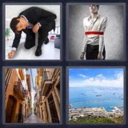 4 fotos 1 palabra hombre vestido de negro