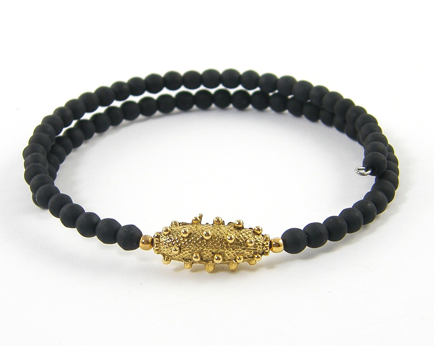 Black Bangle Bracelet - Tribal Black Gold Beaded Jewelry