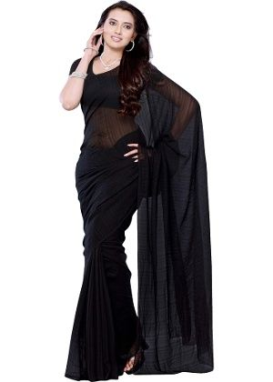 69754a4993 Diva Fashion Black Georgette Saree from Diva Fashion | Sarees | clothing-store  | HomeShop18.com