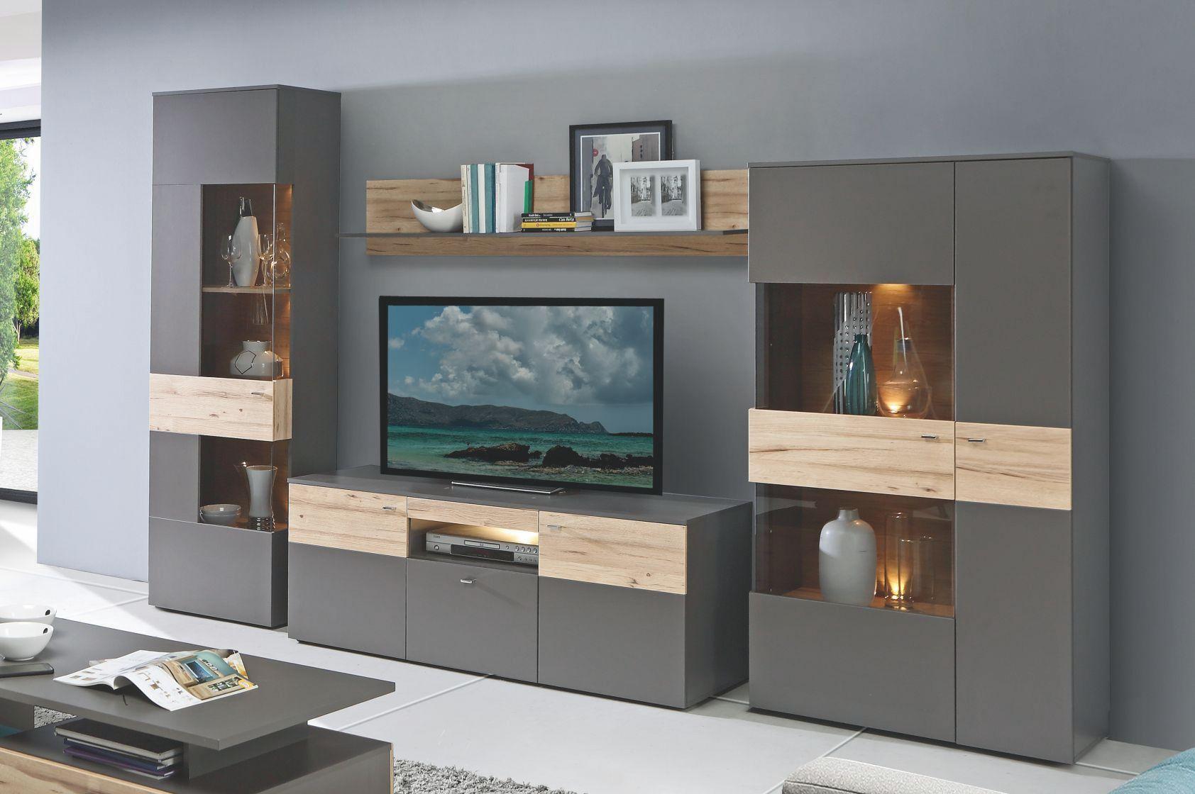 Wohnwand Grau Mit Absetzung In Planked Eiche Mit Beleuchtung Woody 77 01129  Holz Modern Jetzt