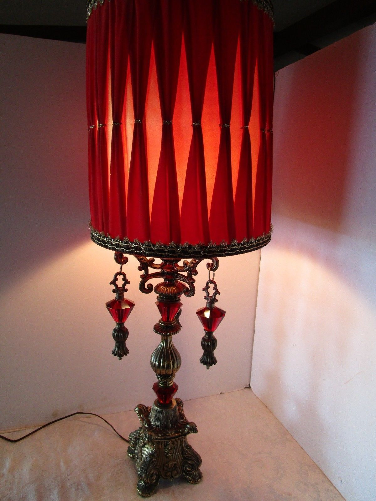 Table lamp hollywood regency ruby red glass prisms wvelvet shade table lamp hollywood regency ruby red glass prisms wvelvet shade original 1960s aloadofball Choice Image