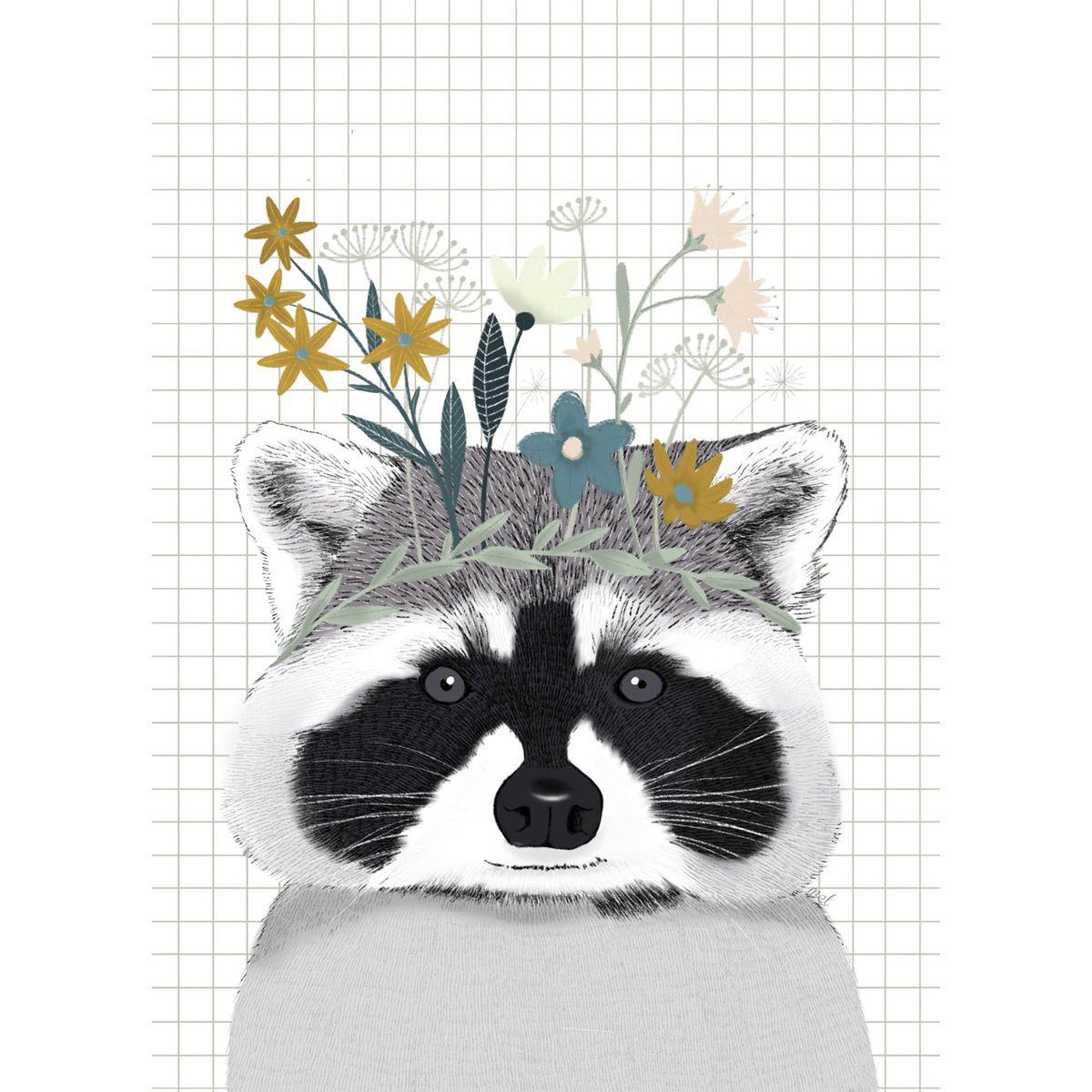 L'affiche Raton laveur est idéale en décoration dans une chambre d'enfants. C'est un cadeau de naissance original.