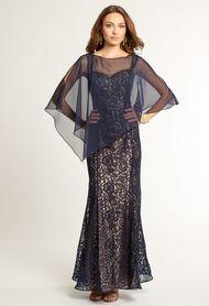 Two Tone Lace Dress with Chiffon Cape camillelavie.com $149.99