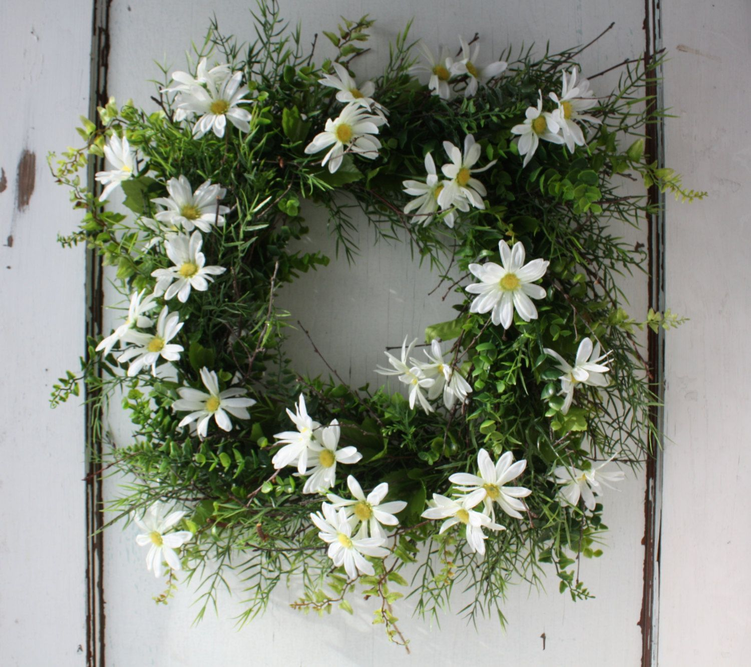 Square Daisy Wreath - Boxwood Wreath - Spring Wreath - Easter Wreath - 18 inch Boxwood - Country Garden - Wreath for Door - Wedding Wreath by TheTangledTreehouse on Etsy