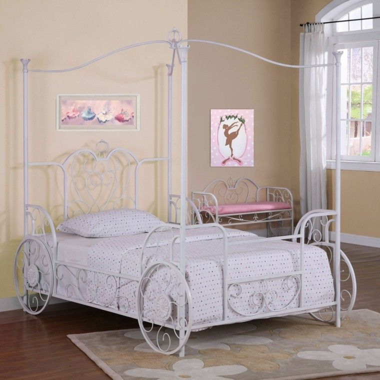 cama dosel acero blanco habitacion chica ideas Habitación niña