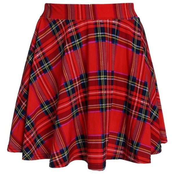 d76817b38d Retro Plaid Printed Spandex Skating Skirt ($6.28) ❤ liked on Polyvore  featuring skirts, bottoms, faldas, print skirt, red skirt, patterned skirt,  red ...