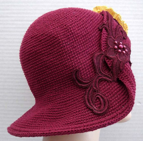 Cranberry Red Crochet Cotton Hat With Yellow Ribbon от ohmama