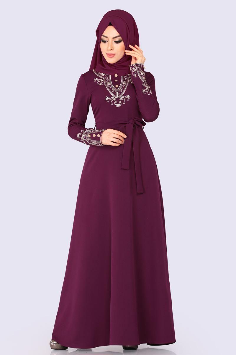 Modaselvim Elbise Aksesuar Dugmeli Nakisli Elbise 597l263 Murdum Muslim Fashion Fashion Dresses Dresses