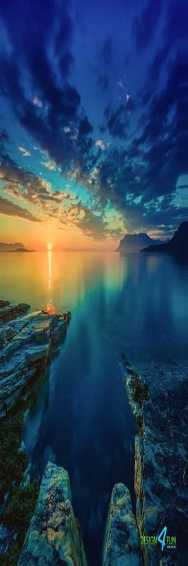 Arctic Ocean at midnight - Northern Norway . so Beautiful calm and peaceful ^_^ love the colors ^_^ ♥
