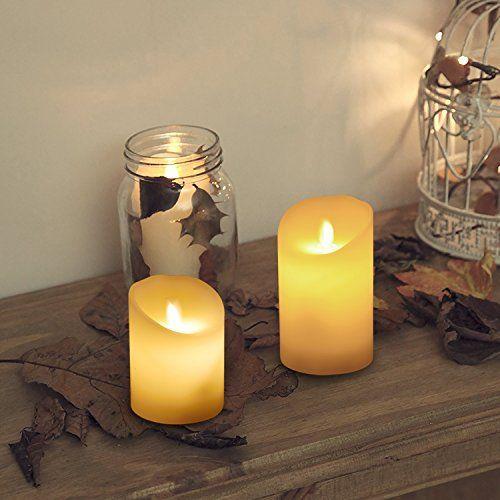 Liqoo 3er Set Flammenlose Led Kerzen Echtwachskerz Decoracao