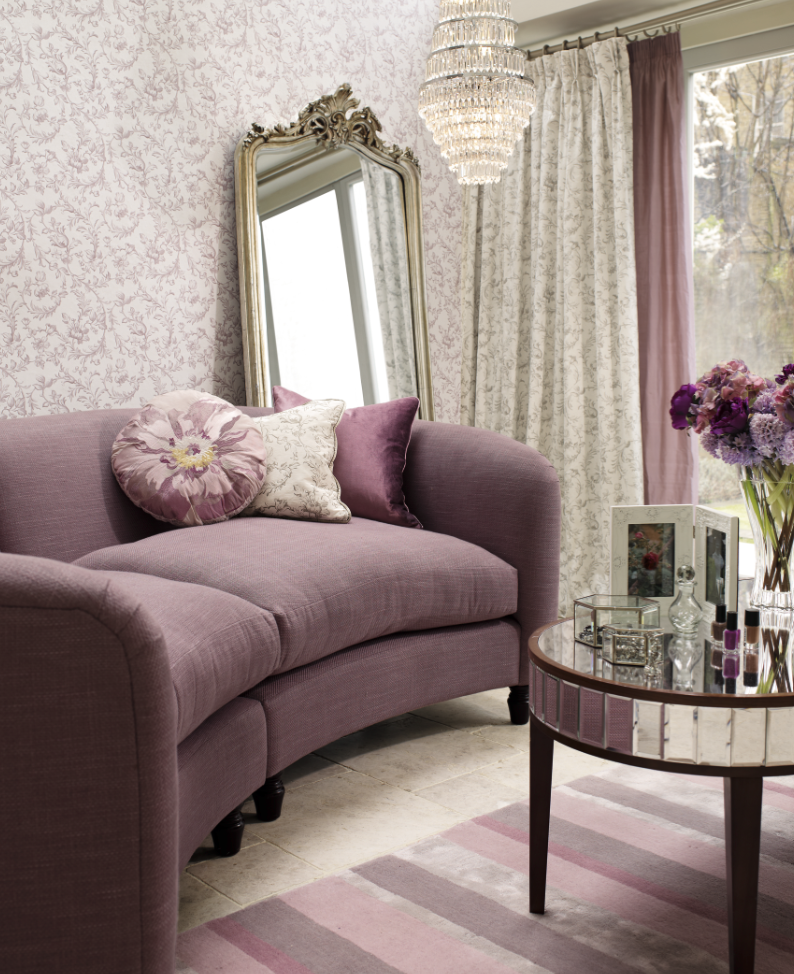 Love the matching curtains and wallpaper peony amethyst for Purple living room wallpaper