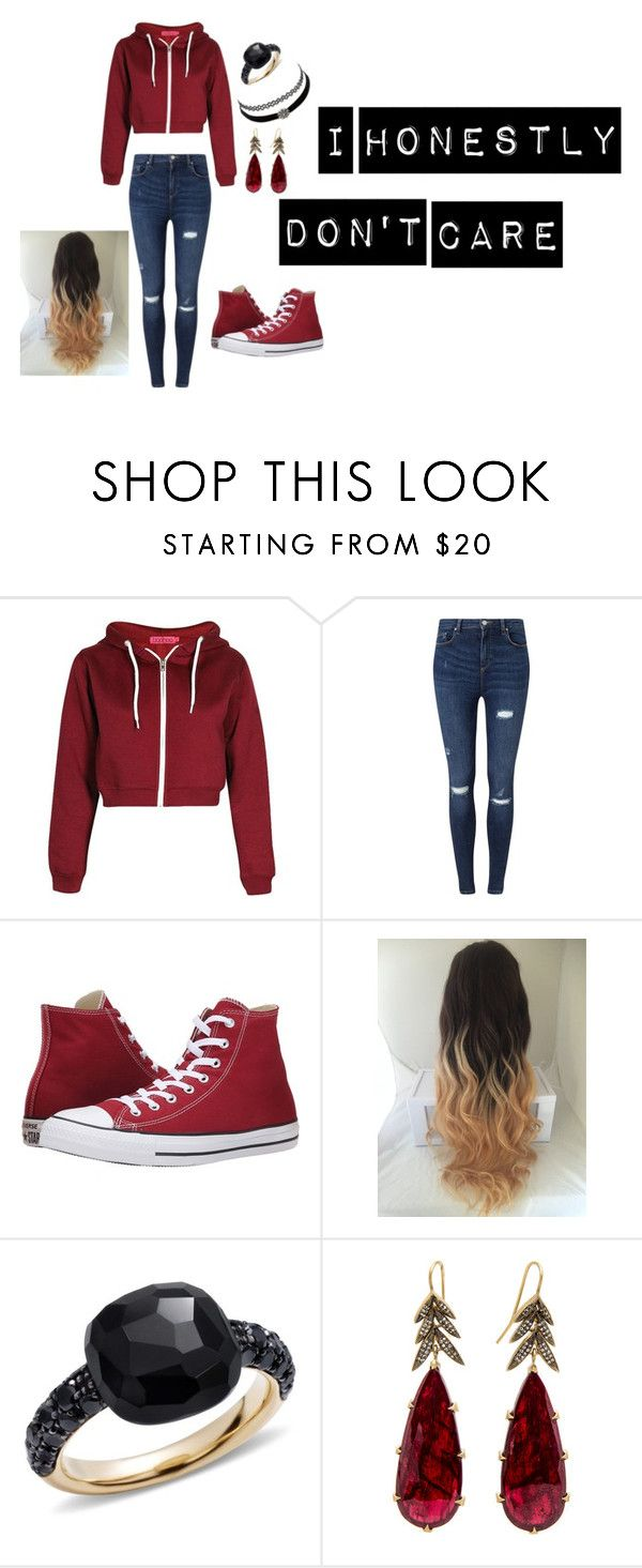 """""""Don't even care what you think."""" by abi-hartke ❤ liked on Polyvore featuring Miss Selfridge, Converse, Pomellato and Charlotte Russe"""