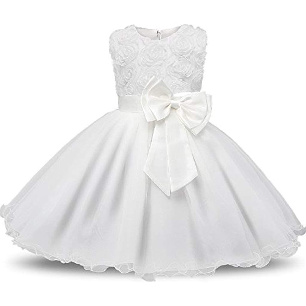 NNJXD Robe Filles C/ér/émonie B/éb/és Filles Robes de Bal de Mariage danniversaire de f/ête Fleurs 3D Robes de Filles Princesse