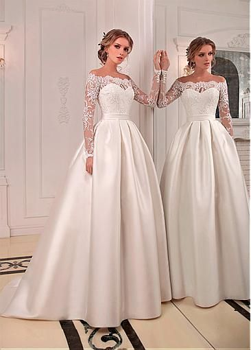 Photo of [230.20] Chic Tulle & Satin Jewel Neckline Floor-length A-line Wedding Dresses With Beaded Lace Appliques – laurenbridal.co