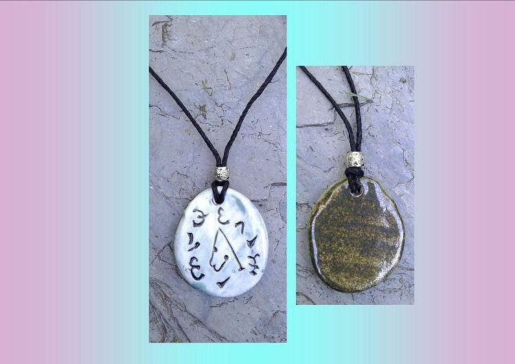 Archangel Uriel Necklace Blue Ceramic Angel Pendant Sigil Enochian Amulet Sacred Protection