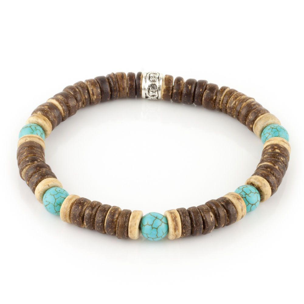 Mens Turquoise And Brown Wood Bead Stretch Surfer Style Bracelet Gift For Handmade