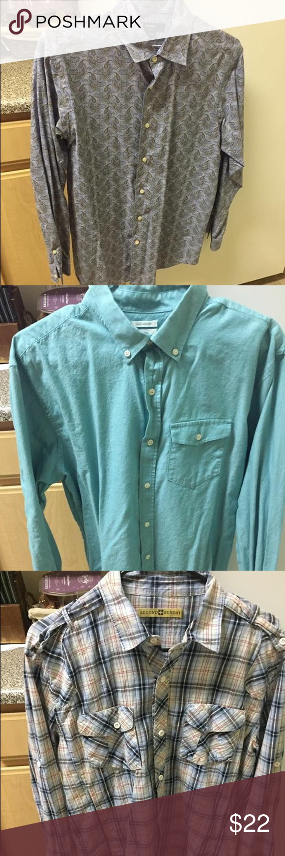 3 Men's Button Up Shirts All in great condition. All size Large there maybe one medium but it fit my husband as a size Large. Not all buckle brand just listed that way for exposure. No flaws. Buckle Shirts Casual Button Down Shirts