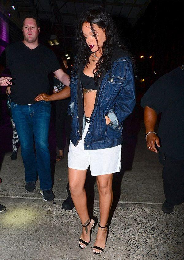 rihanna-street-style-denim-jacket-lingerie-heels
