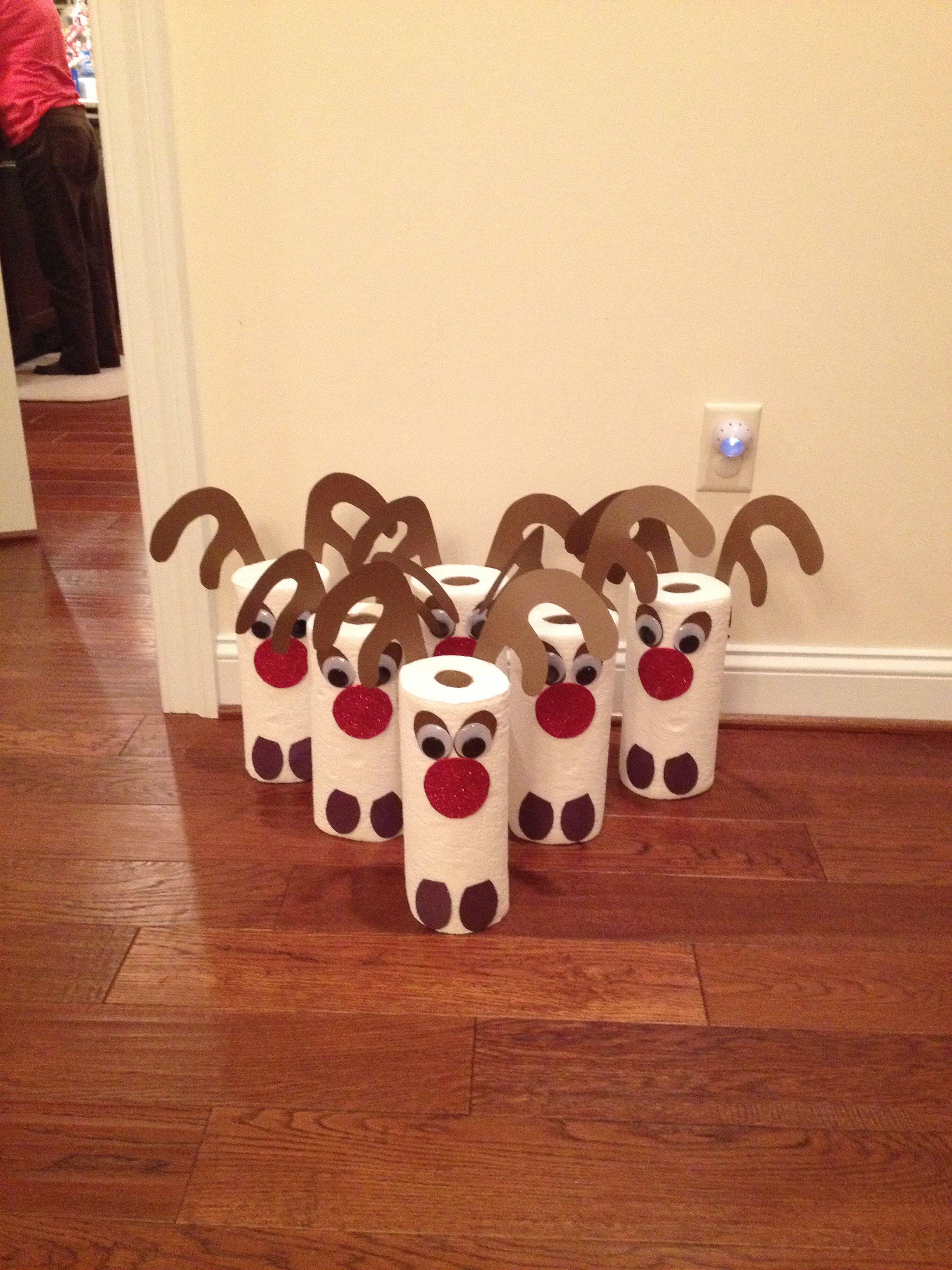 Reindeer paper towel bowling for preschool christmas party