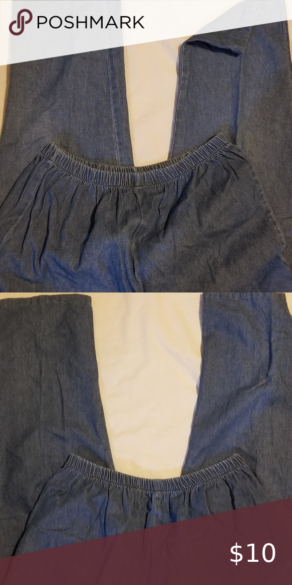 Elastic waist jeans.