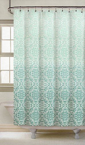 Nicole Miller Fabric Shower Curtain Teal Mosaic Lace Medallions Ombre Print  72 Inch By 72