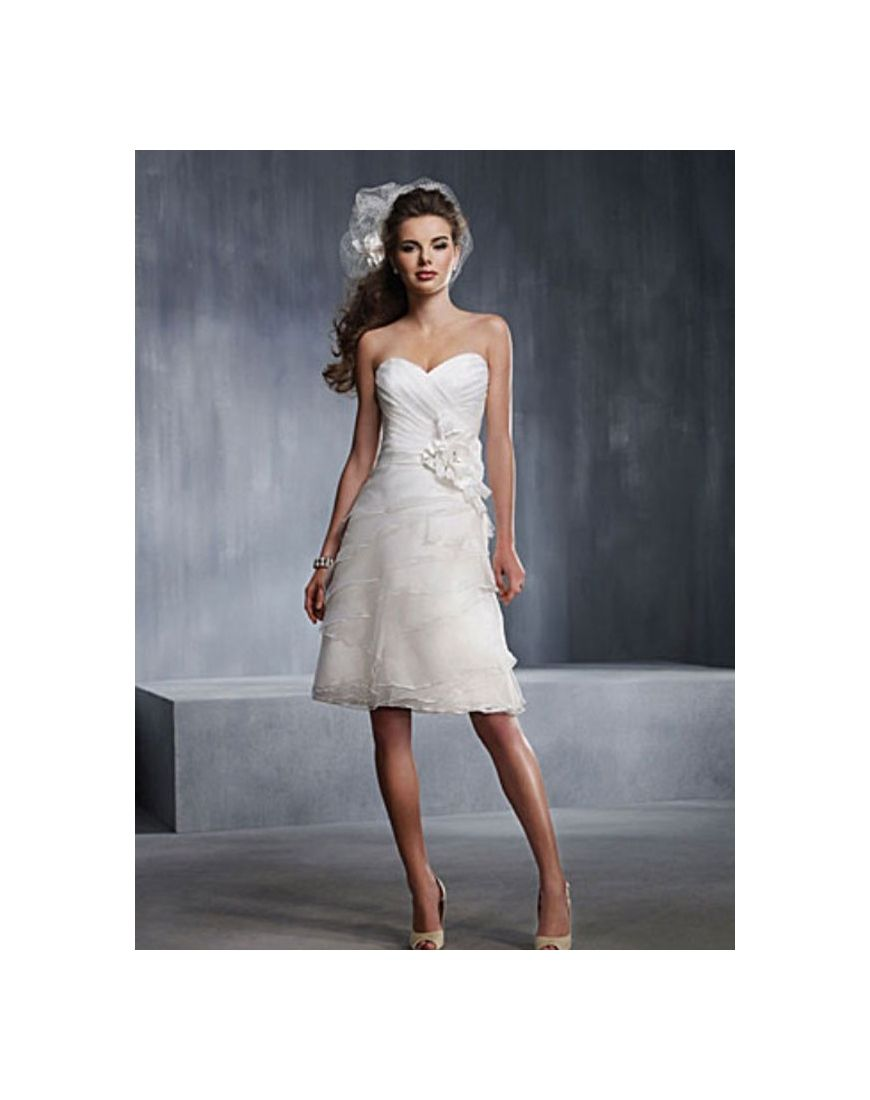 Sweetheart Applique Tiers Knee-length Organza Wedding Dress - PERSUN ...