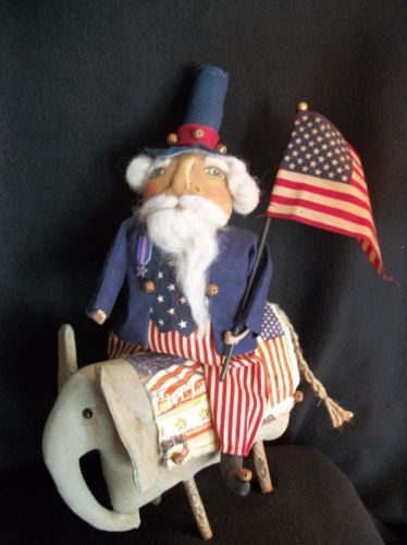 Primitive-doll-PATTERN-Folk-art-Americana-Uncle-Sam-rides-elephant-15in-x11-in